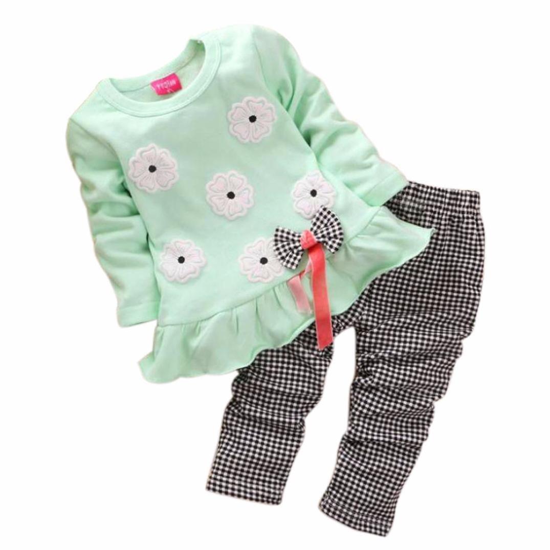 Culater® Shirt per bambini ragazze a maniche lunghe Flower Bow Plaid Pant Set