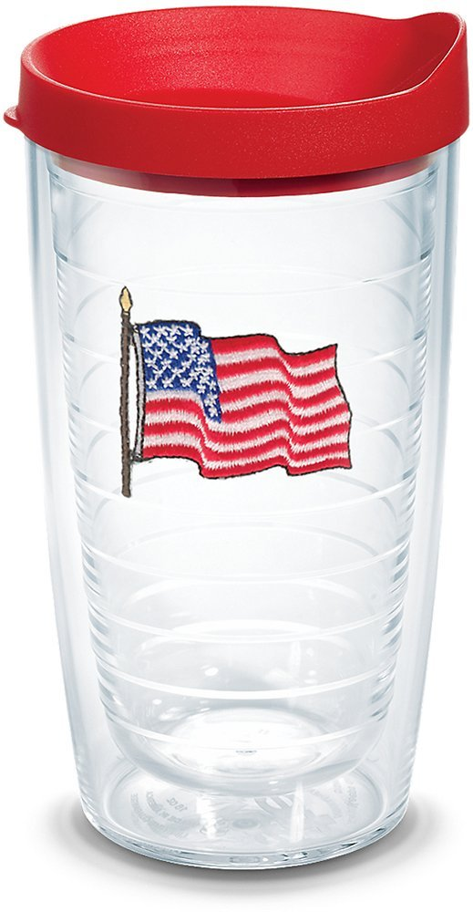 Tervis 1078092 American Flag Insulated Tumbler with Emblem and Red Lid 24oz Clear