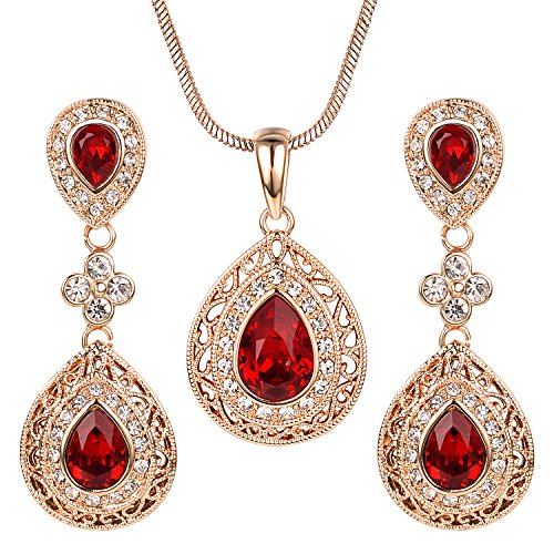 Necklace Pendant Chandelier (Yoursfs Ruby Jewelry Set for Women Rose GP Vintage Red Crystal Chandelier Pendant Necklace & Drop Earrings Set)