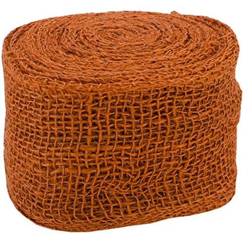 Kel-Toy Jute Burlap Ribbon Roll, 4-Inch by 10-Yard, Burnt Orange
