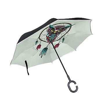 jstel doble capa invertida Atrapasueños búho paraguas coches ...