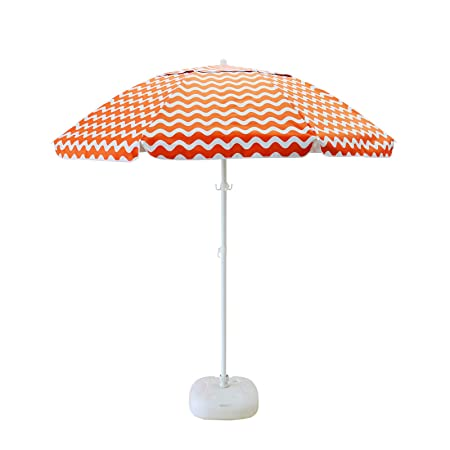 Caymus 7 ft Acrylic Orange and White Striped Patio Pole Beach Umbrella 8 Ribs with Carry Bag