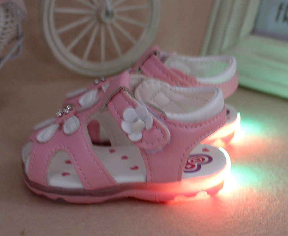 keephen Bébé LED Chaussures Fille Lumineux Chaussures Bébé Première Marche  Chaussures Casual Non-Slip Chaussures en Plein Air Princesse Chaussures  ... fa9f0c58f03c