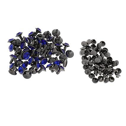 Monrocco 100 Set 8mm Rhinestone Rivets Royal Blue Synthetic Crystal Rhinestone Rivets for DIY Leather Craft Bag Shoes