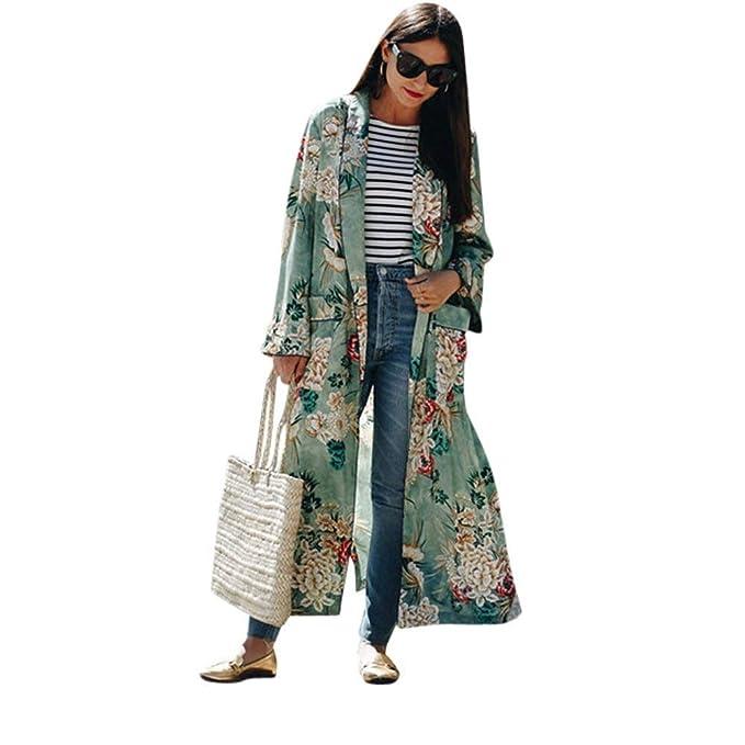 Cardigan Mujer Talla Grande Chiffon Abrigos Primavera Otoño Elegante Túnica Moda Festivo Casual Hermoso Manga Larga Fiesta Kimono Placket Floreadas con ...