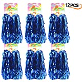 Hatisan 12 Pack Cheerleading Pom Poms - Ultra Shining Cheerleader Pompoms for Sports Team Spirit Cheering Party Dance Useful Accessories (Blue)
