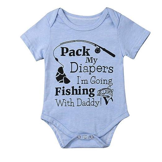 562dedddf15c Amazon.com: ONE'S Newborn Infant Baby Boys Girls Short Sleeve Fishing with  Daddy Bodysuit Romper Outfits (Blue, 0-6 Months): Clothing