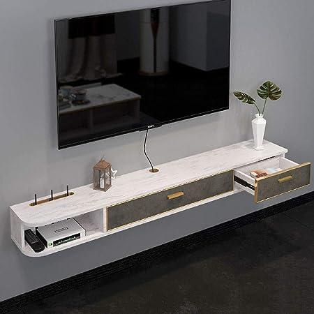 WJHH Gabinete de TV Minimalista Moderno Decodificador de TV montado en la Pared Estante de la Caja del enrutador con cajón para la Sala de Estar del Dormitorio: Amazon.es: Hogar