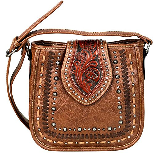 Trinity Ranch by Montana West Cross Body Purses Tooled Partial Leather TR57-8391 (Brown) (Tooled Western Purse)