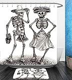 Beshowereb Bath Suit: Showercurtain Bathrug Bathtowel Handtowel Day Of The Dead Decor Festive Celebration Mexican Dancing Couple Skeleton Art Print Grey and White