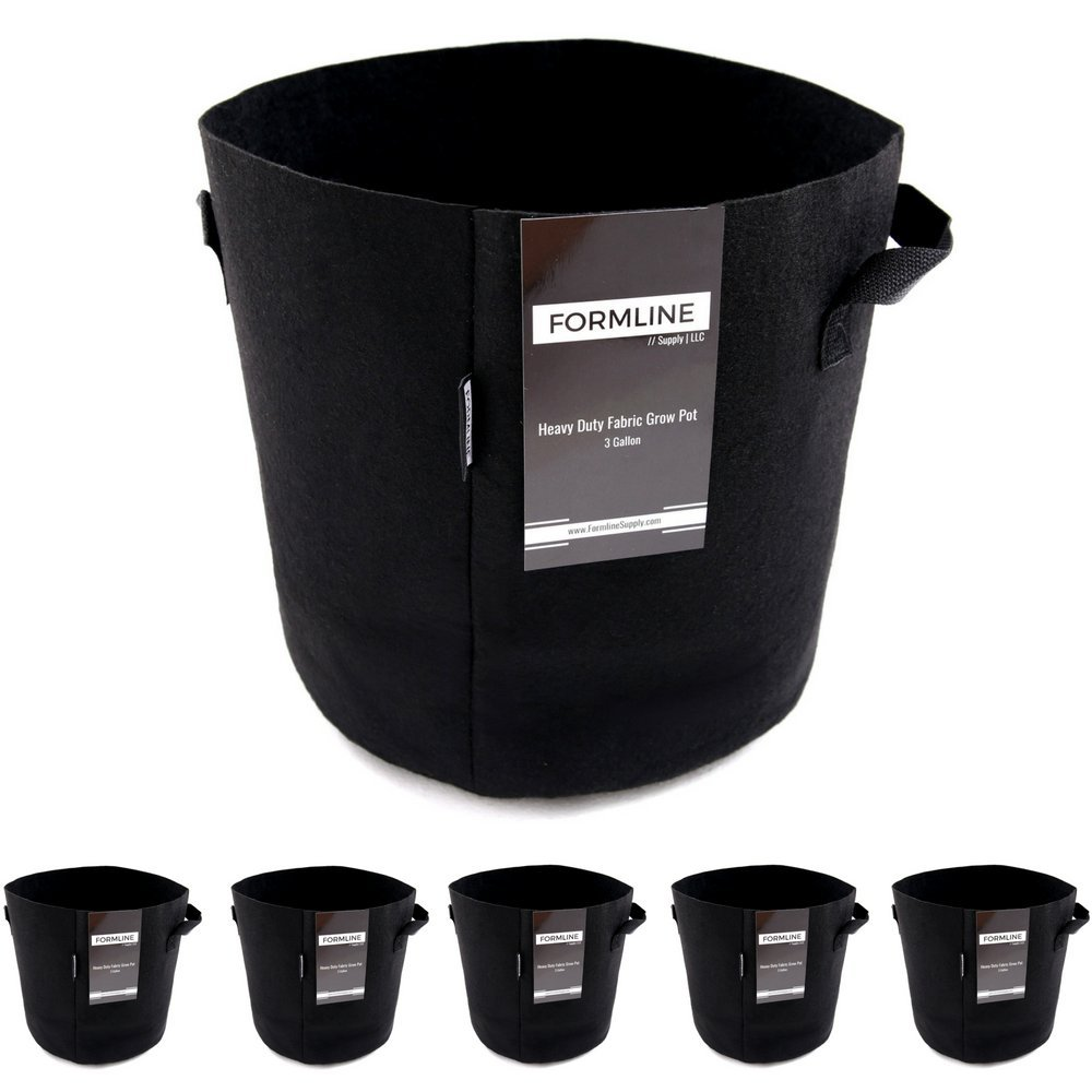 Formline Supply Premium 3 Gallon Grow Bags [Pack of 5]. Fabric Flower Pots are the Smart Way to Garden. Add these Heavy Duty Planters to your Grow Tent Kit or Hydroponic System to Increase Yields. by Formline Supply