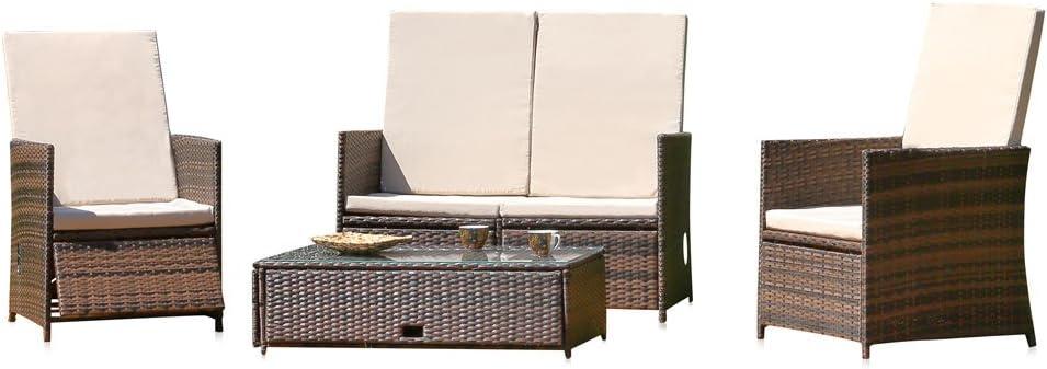 Melko Lounge Sitz-Garnitur Gartenset, Poly Rattan, mit Glastisch, Braun, inklusive Kissen, mehrteilig