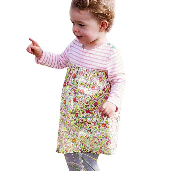 85f152762 ❀ Conjunto Top Y Falda Mujer Niños Niños Niñas De Manga Larga con Estampado  De Rayas Florales Bolsillos Vestido De Ropa: Amazon.es: Ropa y accesorios