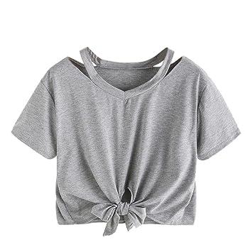 0186415bf LILICAT Camiseta Corta para niñas Adolescentes 2018 Moda Verano Sexy Tops  de Manga Corta