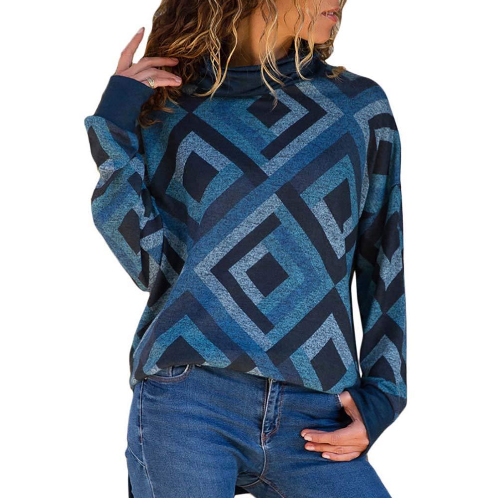 Pevor Womens Casual Henley Shirts Turtleneck Long Sleeve Geometric Print Pullover Sweatshirts Plain Tunic Tops Blouse Blue XXL