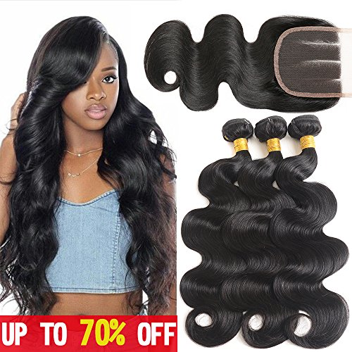 Mermaid 8A Brazilian Virgin Hair Body Wave 3 Bundles With Closure 100% Unprocessed Human Hair Weave With Three Part Lace Closure Natural Color (14 16 18+12 Three Part)
