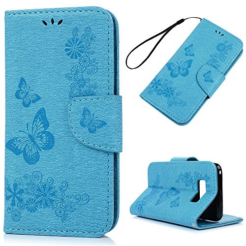 S8 Case, KASOS Fashion Embossed Vivid Flowers Butterfly Durable PU Leather Wallet Case Soft TPU Inner Shell Kickstand Card Holders & Hand Strap Magnetic Flip Cover for Samsung Galaxy S8 - Blue