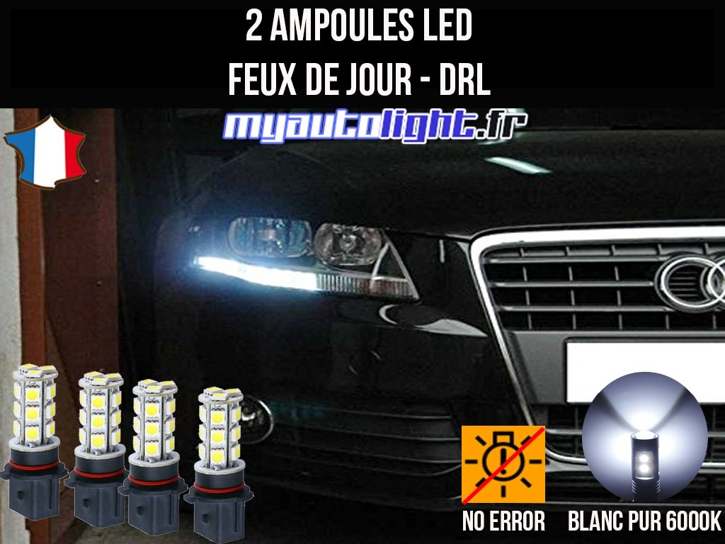 Pack Daytime Running Lights Xenon White Led Bulbs For Audi