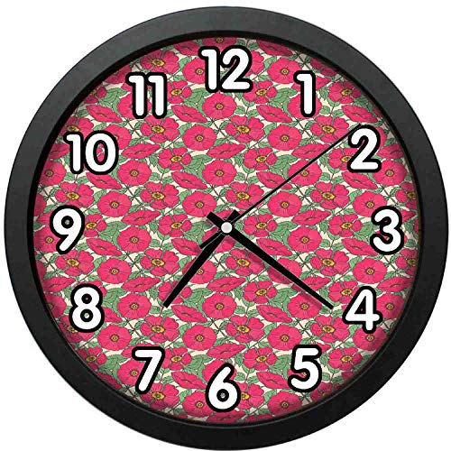 47BuyZHJX 12 inch Large Digital Silent Quartz Movement Wall Clock,Backdrop Pattern-Pattern with Pink Dog Roses Green Stems and Leaves Vintage Style Garden Flowers,Home School Office Wall Clock