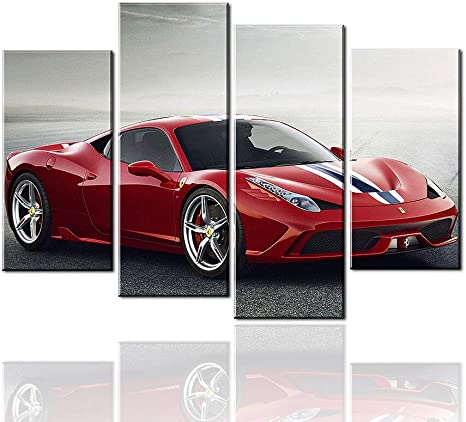 Amazon Com Meigan Art 4 Pieces Red Sports Car Wall Art Picture Home Decoration Living Room Canvas Print Painting Wall Picture Posters Prints