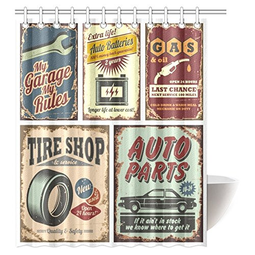 InterestPrint Vintage Car Metal Signs Automobile Advertising Repair Vehicle Garage Classics Servicing Image Fabric Bathroom Shower Curtain Set with Hooks, 60 X 72 Inches
