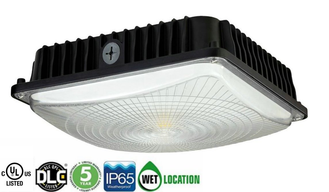CYLED 100W LED Canopy Light Industrial Waterproof Explosion-proof Outdoor High Bay Balcony Car Park Lane Gas Station Ceiling Light Equivalent 450W HID/HPS 11000 Lm 6000K DLC qualified