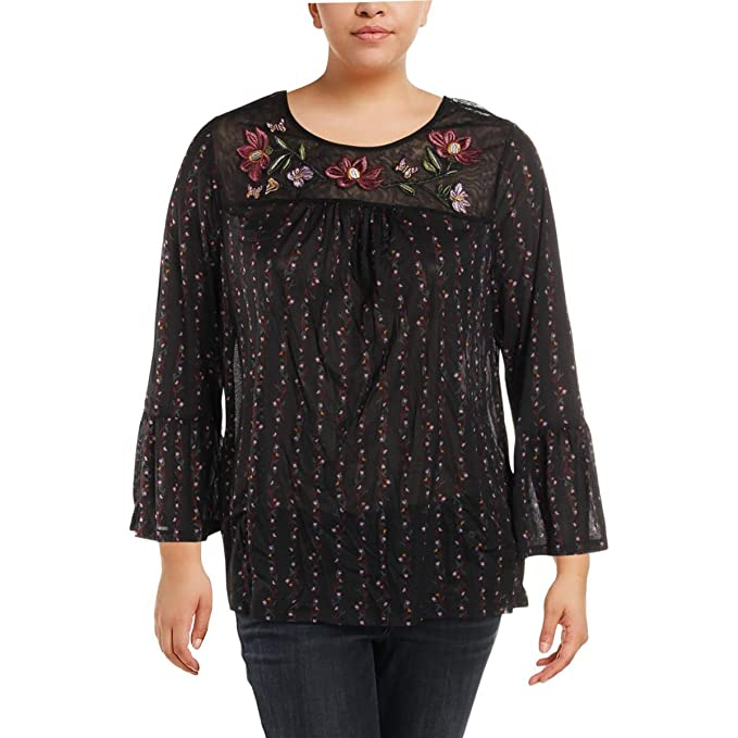 54931bb92fb Style & Co. Womens Plus Embroidered Floral Print Blouse Black 2X at ...