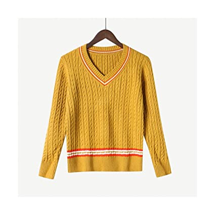 a5217782f1029 MON5F HOME V-Neck Knitted Women Sweater And Pullover Thick Warm Autumn  Winter Female Jumper Style Pull Femme (Color   Gold