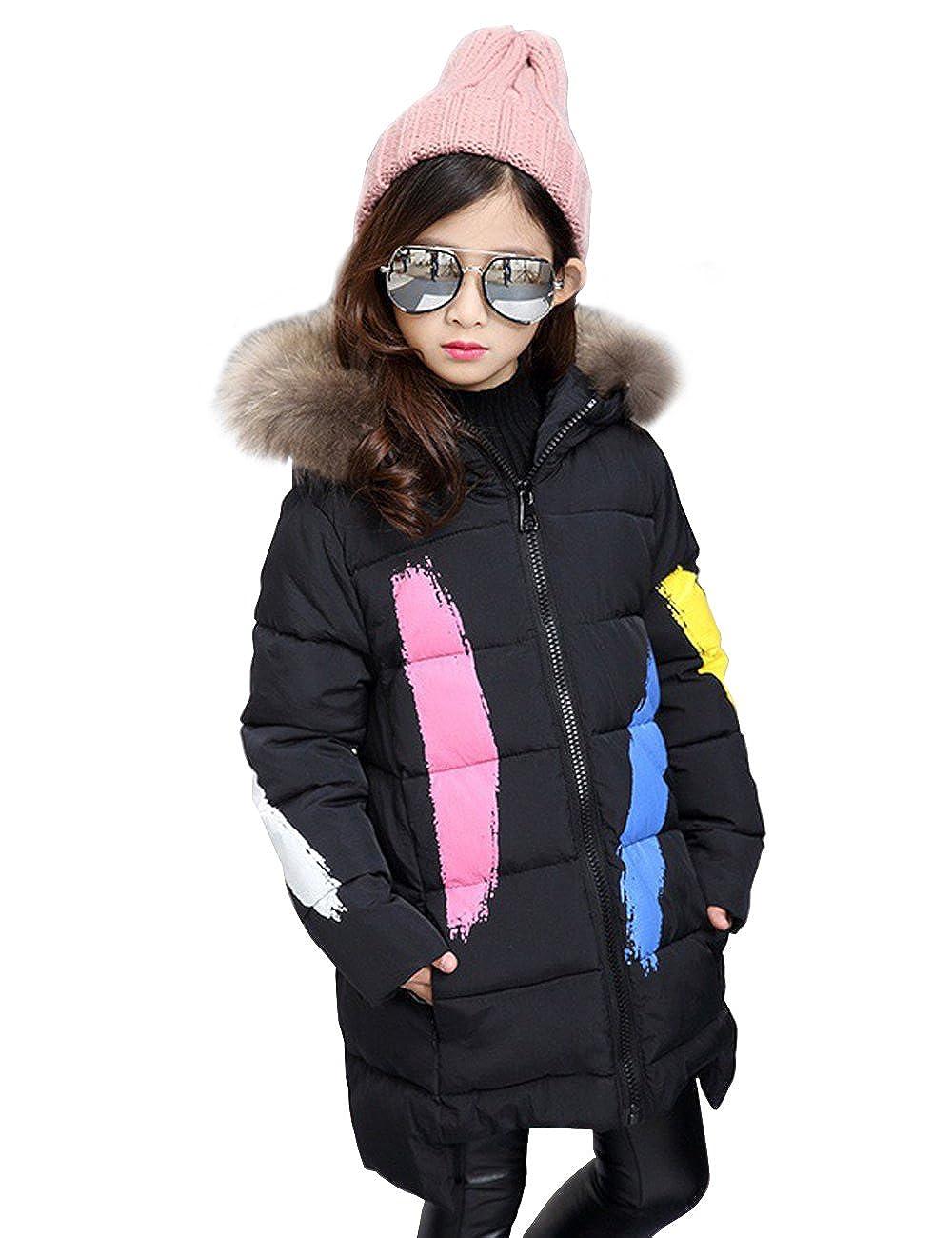 MOKAYA Girls Down Fur Hooded Zipper Jacket Winter Warm Outwear Winter Coat