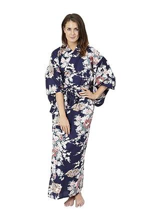 652ddecad2 Beautiful Robes Women s Princess   Peony Cotton Kimono Navy Blue Long