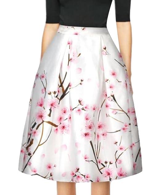 5b6c59919 Abetteric Women Flower Pattern Fitted Elegant Midi Skirt Club Skirt ...