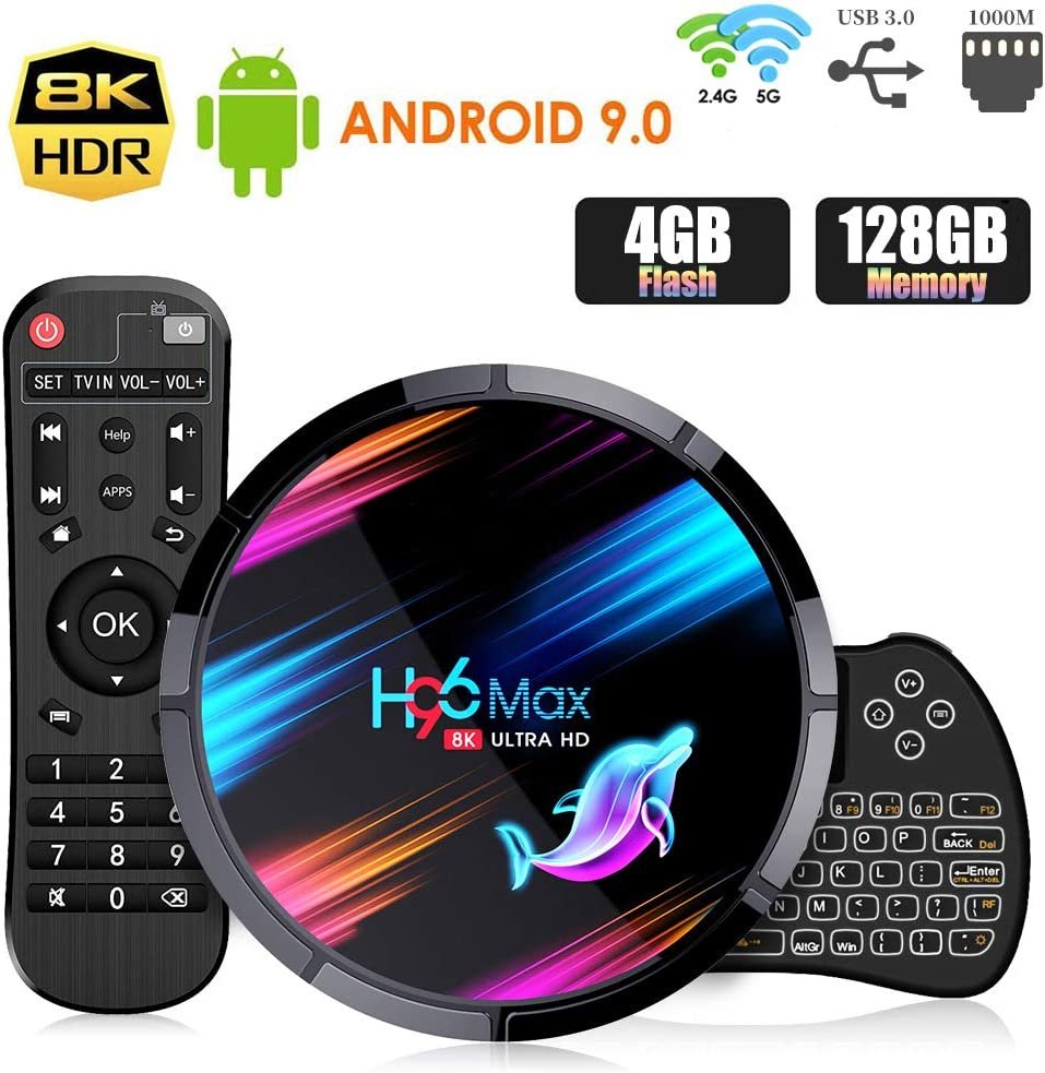 Android 9.0 TV Box ,【4G+128G】 H96 MAX X3 con Mini Teclado inalámbirco S905X3 Quad-Core 64bit Cortex-A53 Android TV Box ,Wi-Fi-Dual 2.4GHz/5GHz, Bluetooth 4.0 , 8K*4K UHD Smart TV Box: Amazon.es: Electrónica