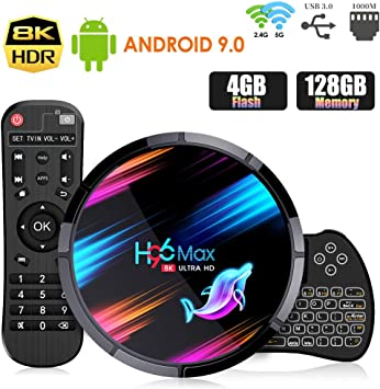 Android 9.0 TV Box ,【4G+128G】 H96 MAX X3 con Mini Teclado inalámbirco S905X3 Quad-Core 64bit Cortex-A53 Android TV Box ,Wi-Fi-Dual 2.4GHz/5GHz, Bluetooth 4.0 , 8K*4K UHD Smart TV Box: Amazon.es: Electrónica