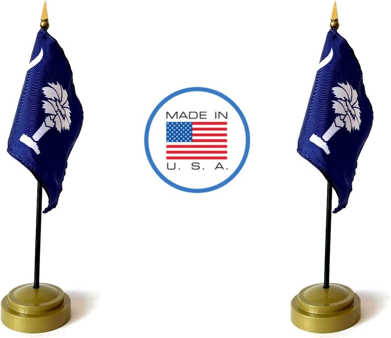 2 South Carolina Rayon 4x6 Miniature Office Desk /& Little Hand Waving Table Flags Includes 2 Bronze Flag Stands /& 2 Small Mini South Carolina Stick Flags Made in The USA Flag Set