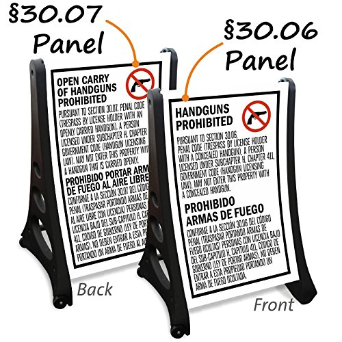 One §30.06 panel, one §30.07 panel and one A-frame sign, QLA™ Quick-Load A-Frame Sidewalk Sign (Texas 30.06 Sign)
