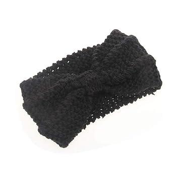 d6459102f65a Amazon.com   Winter Warmer Ear Knitted Headband Turban For Lady Women  Crochet Bow Wide Stretch Hairband Headwrap Ha   Beauty