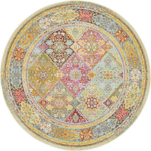 Unique Loom Baracoa Collection Bright Tones Vintage Traditional Multi Round Rug (5' 5 x 5' 5)
