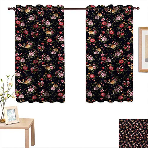 Garden Rose China Block (Watercolor Customized Curtains Victorian Romantic Garden with Blossoming Roses Vintage Growth Soulful Bouquet 55