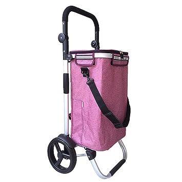 SXRNN Carrito de la Compra Escalada 2 Ruedas Carrito de Compra Carrito de la Compra Plegable portátil con Asiento,Pink: Amazon.es: Hogar