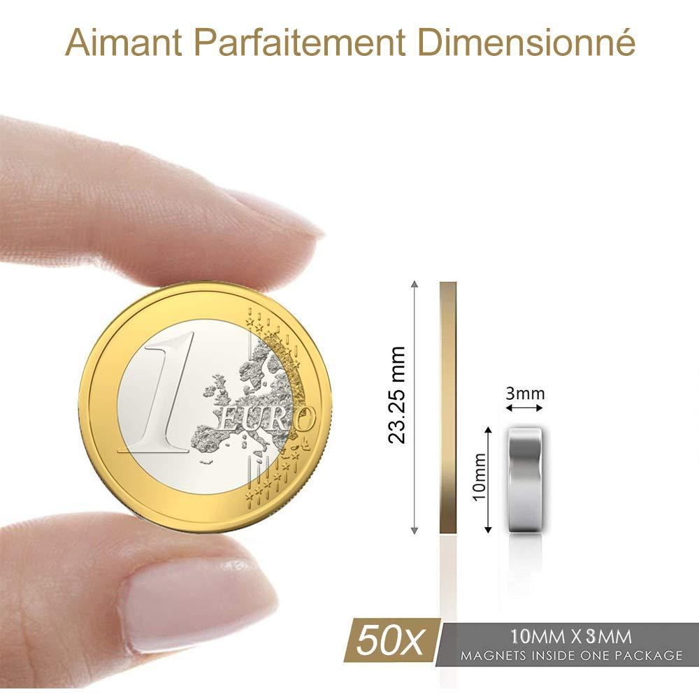 Aimants N/éodymes rond N52 10 20 3mm Premium Extr/êmement super puissant aimants Id/éale pour R/éfrig/érateur,Surfaces Magn/étiques,Tableau Blanc Interactif Bureau