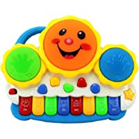 Memore Drum Keyboard Musical Toy with Flashing Lights Animal Sounds and Songs