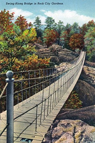 Bridge Swing Along - Lookout Mountain, Tennessee - View of Rock City Gardens Swing-Along Bridge (24x36 SIGNED Print Master Giclee Print w/Certificate of Authenticity - Wall Decor Travel Poster)
