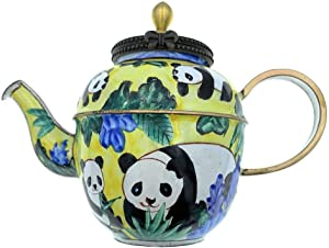 Kelvin Chen Miniature Teapot, Panda Bears in Bamboo Garden, Enameled, 3.25 Inches Tall