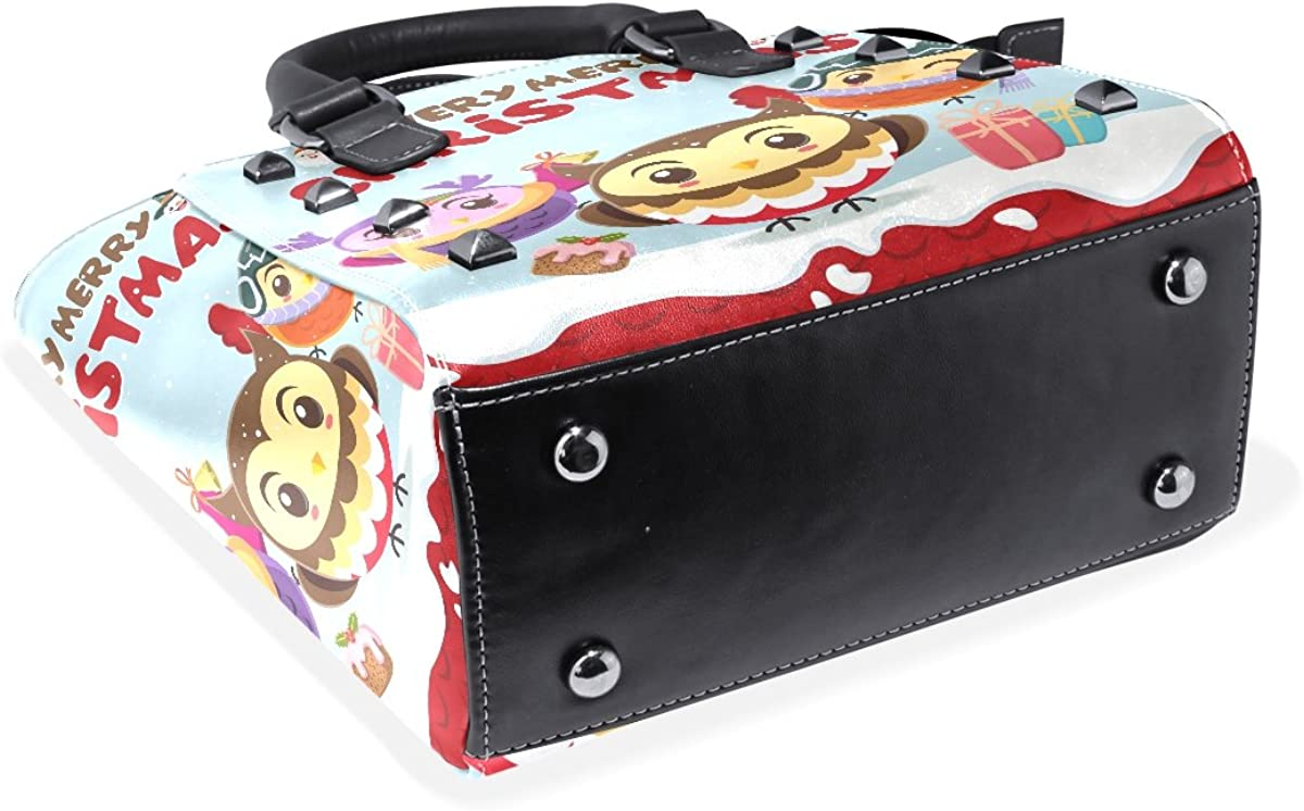 Use4 Merry Christmas Owl Donut Cake Rivet PU Leather Tote Shoulder Bag Purse