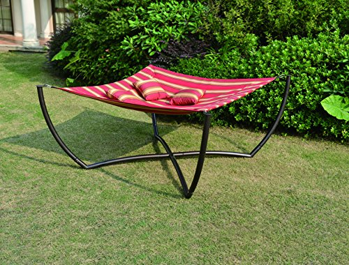 Mentoriend Farrari Square Hammock Stand, Outdoor Garden patio,Iron Frame with 3 pillows, KD
