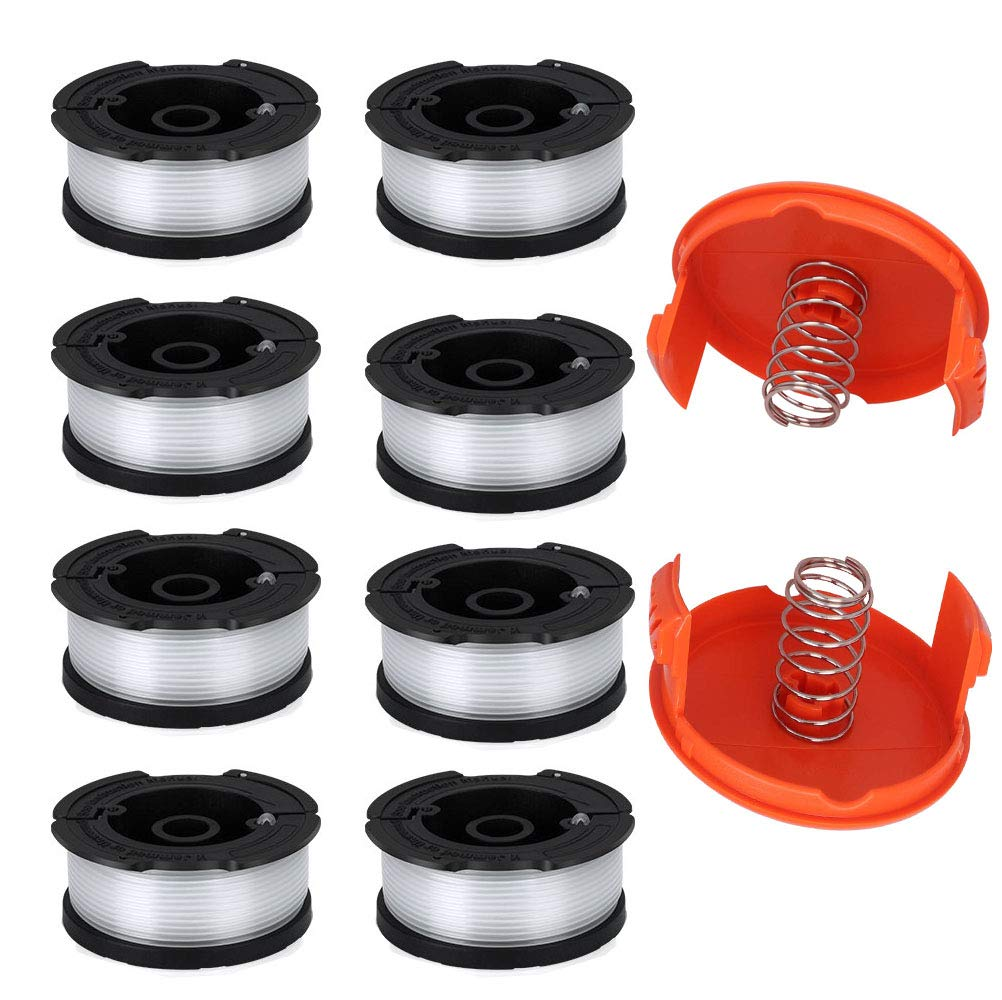 "TOPEMAI AF-100 Spool, 0.065"" Line String Trimmer Replacement Compatible with Black & Decker AF-100-3ZP GH900 GH600 String Trimmer(8 Pack+2 Spool Cap and Spring)"