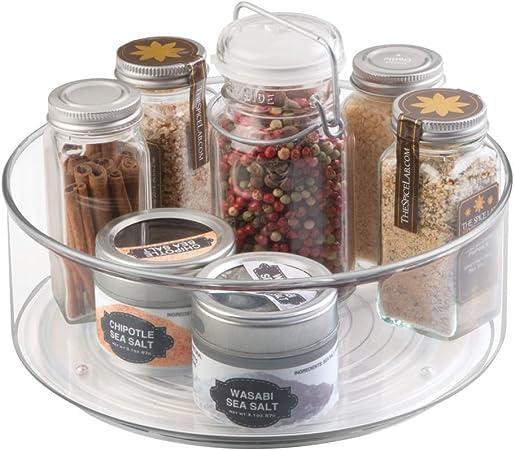 rangement pivotant cuisine armoires de cuisine rangement tournant pratique pour r/éfrig/érateur couleur : transparent en plastique etc mDesign plateau tournant pratique pour la cuisine
