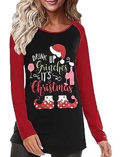 ea866e90954 Womens Christmas Tops,Women's Casual Color Christmas Holiday Celebration  Striped Raglan Sleeve T Shirt Tunic