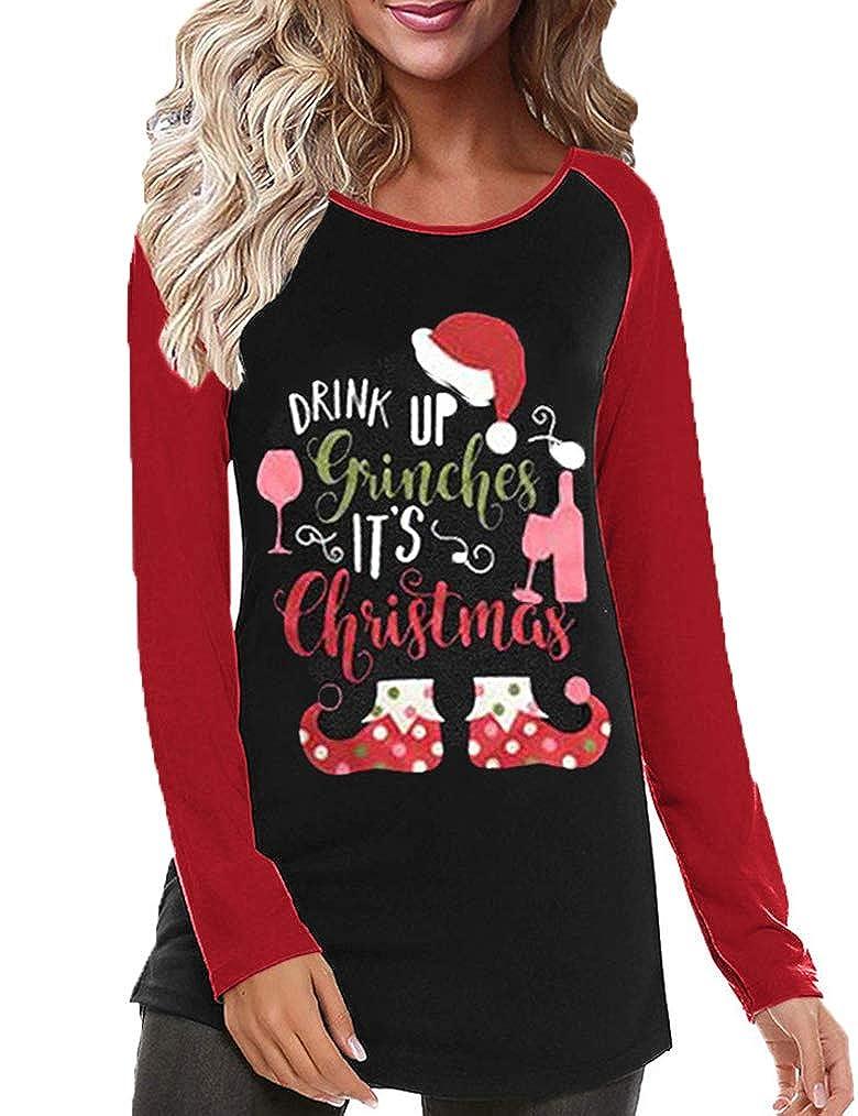 Christmas Tops.Womens Christmas Tops Women S Casual Color Christmas Holiday Celebration Striped Raglan Sleeve T Shirt Tunic Tops