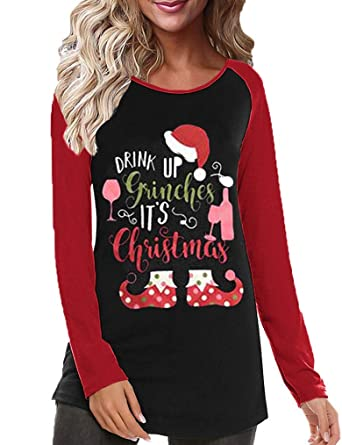 93489387 Womens Christmas Tops,Women's Casual Color Christmas Holiday Celebration  Striped Raglan Sleeve T Shirt Tunic